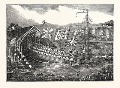 Launch Of His Majestys Ship Waterloo, At Chatham,  Uk Art Print