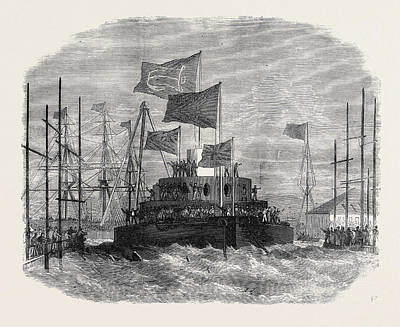 Cyclops Drawing - Launch Of H.m.s. Cyclops At Blackwall 1871 by English School