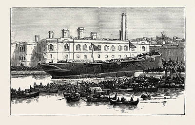 Launch Of H.m.s. Melita  At Malta The First Ironclad Art Print