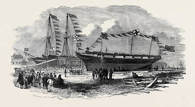 Whaling Drawing - Launch Of The Earl Of Hardwicke, Whaling Ship by English School