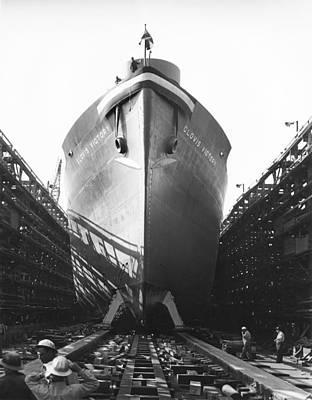 Clovis Photograph - Launching Of Wwii Victory Ship by California Shipbuilding Corporat
