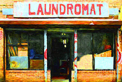 Storefront Digital Art - Laundromat 20130731pop by Wingsdomain Art and Photography