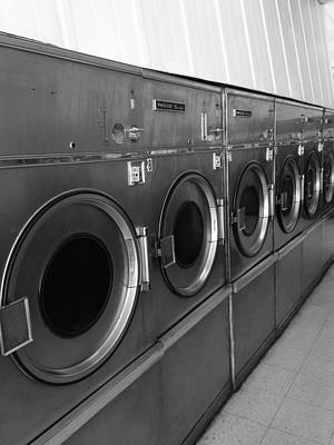 Dirty Linen Photograph - Laundromat Black And White by Dan Sproul
