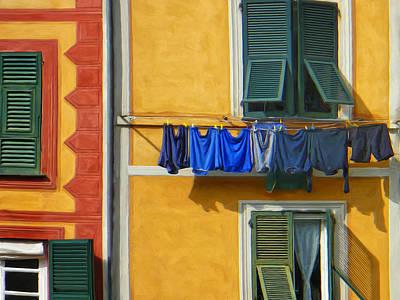 Portofino Italy Painting - Laundry Al Fresco by Dominic Piperata