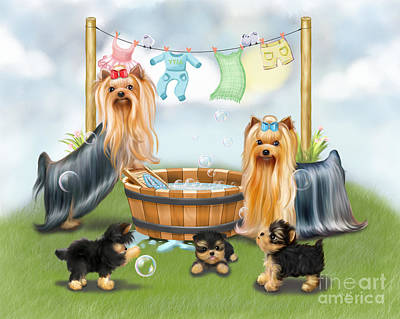 Water Dogs Mixed Media - Laundry Day by Catia Cho