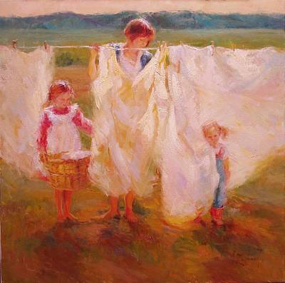 Newton Painting - Laundry Day by Diane Leonard