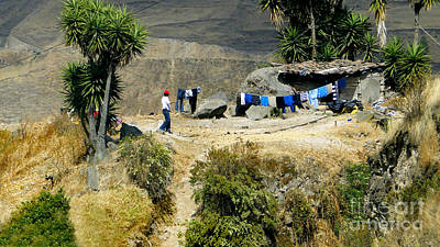 Lined Quilts Photograph - Laundry Day High In The Andes by Al Bourassa