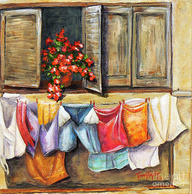 Painting - Laundry Day In The Villa by Terry Taylor