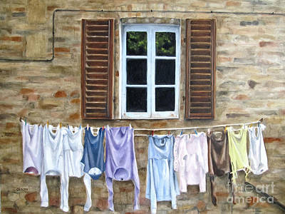 Laundry Day In Tuscany Art Print by Karen Olson
