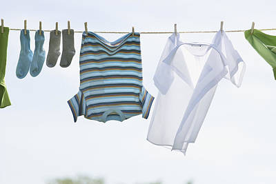 Laundry Hanging On Outdoor Clothesline Print by Bruno Crescia