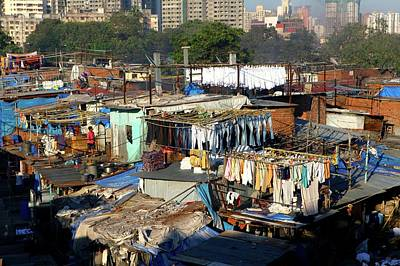 Laundry Hanging To Dry At The Dhobi Art Print by Jill Schneider