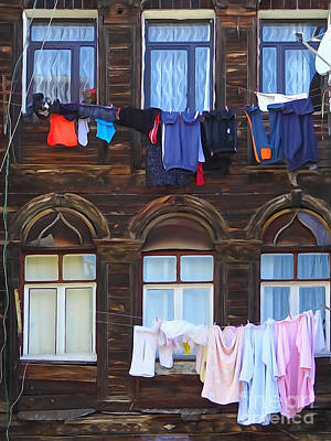 Old Town Mixed Media - Laundry Istanbul by Lutz Baar