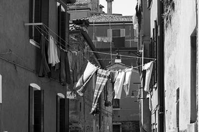 Curated Beach Towels - Laundry IV Black and White Venice Italy by Sally Rockefeller