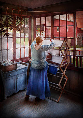 Photograph - Laundry - Miss Lady Blue  by Mike Savad
