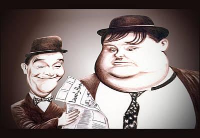 Digital Art - Laurel And Hardy Illustration by Diego Abelenda
