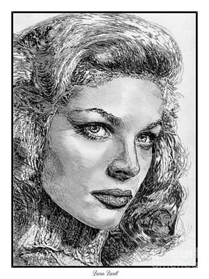 Drawing - Lauren Bacall by J McCombie