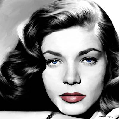 Digital Art - Lauren Bacall Large Size Portrait by Gabriel T Toro