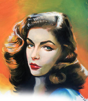 Painting - Lauren Bacall by Robert Korhonen