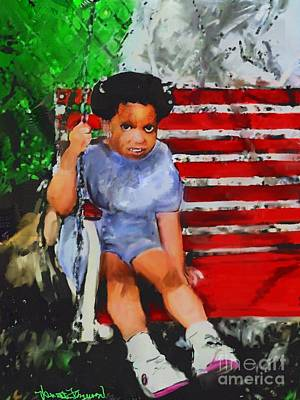 Art Print featuring the painting Lauren On The Swing by Vannetta Ferguson