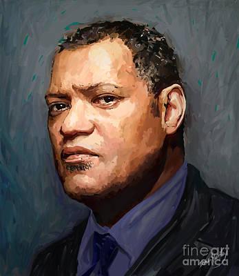 Male Portraits Digital Art - Laurence Fishburne by Dori Hartley