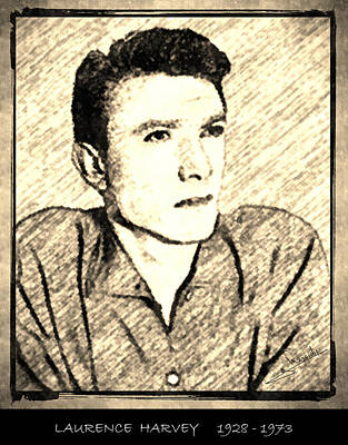 Portrait Drawing - Laurence Harvey by George Rossidis
