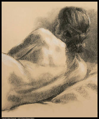 Drawing - Lauren's Back Muscles by Diana Moses Botkin