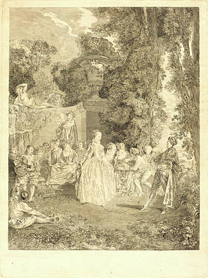 Laurent Drawing - Laurent Cars After Antoine Watteau, French 1699-1771 by Litz Collection