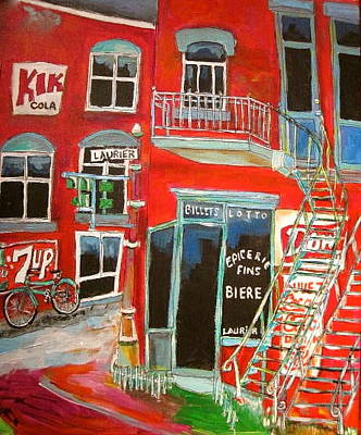 Dow Beer Sign Painting - Laurier Balconies Montreal Memories by Michael Litvack