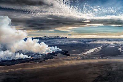 Lav And Plumes From The Holuhraun Art Print by Panoramic Images