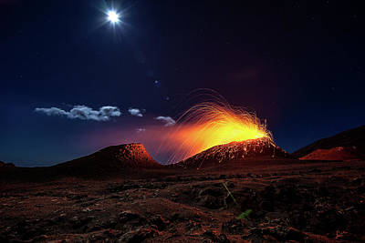 Volcano Photograph - Lava Flow With The Moon by Barathieu Gabriel