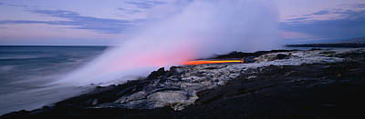 Destruction Island Photograph - Lava Flowing Into The Ocean, Kilauea by Panoramic Images