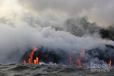 Photograph - Lava Meets The Ocean 1 by Theresa Ramos-DuVon