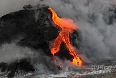 Photograph - Lava Meets The Ocean 2 by Theresa Ramos-DuVon