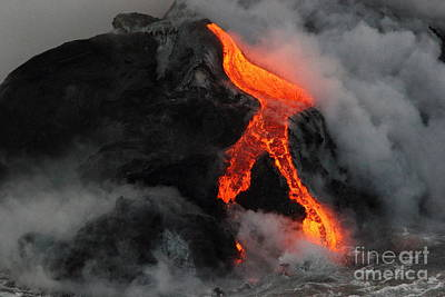 Photograph - Lava Meets The Ocean 3 by Theresa Ramos-DuVon