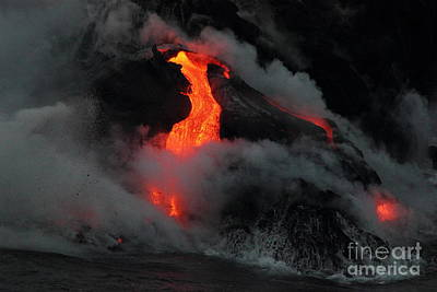 Photograph - Lava Meets The Ocean 4 by Theresa Ramos-DuVon