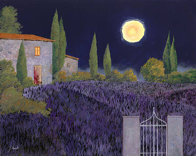 Moonlit Night Painting - Lavanda Di Notte by Guido Borelli