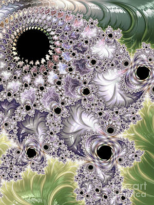 Neon Colors Digital Art - Lavender And Green Fractal Abstract  by Heidi Smith
