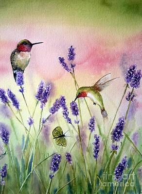 Hummingbird Art Painting - Lavender And Hummingbirds by Patricia Pushaw
