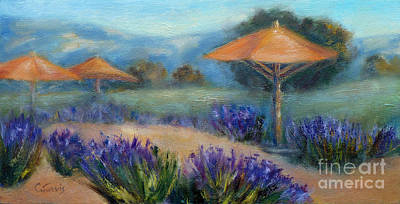 Painting - Lavender And Umbrellas by Carolyn Jarvis