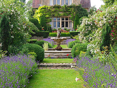 Charming Cottage Photograph - Lavender Country Garden by Gill Billington