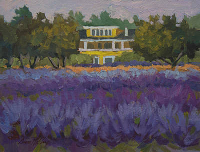 Lavender Flowers Painting - Lavender Farm On Vashon Island by Diane McClary