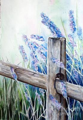 Lavender Fenced Garden  Art Print by Kay Lodahl