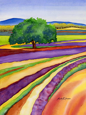 Painting Rights Managed Images - Lavender Field Royalty-Free Image by Hailey E Herrera