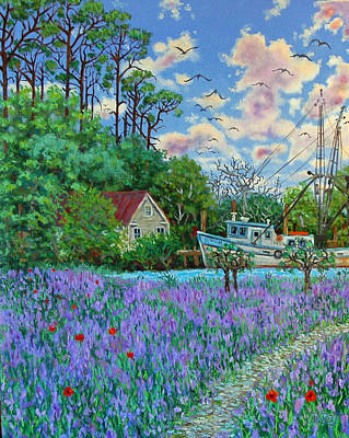 Art Print featuring the painting Lavender Field Next To The Creek by Dwain Ray
