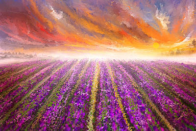 Lavender Field Painting - Impressionist Art Print by Lourry Legarde