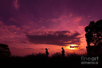 Photograph - Lavender Field Sunset At Kuki In Saitama by Beverly Claire Kaiya