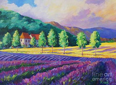 Aquitaine Painting - Lavender Fields In Provence by John Clark