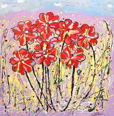 Painting - Lavender Flower Garden by Gh FiLben