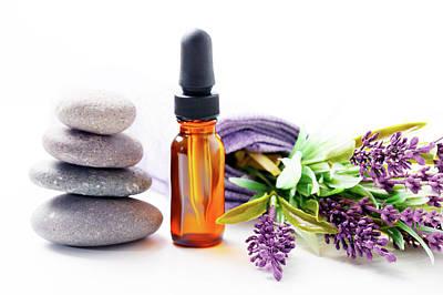 Lavandula Photograph - Lavender Flowers And Aromatherapy Oil by Wladimir Bulgar