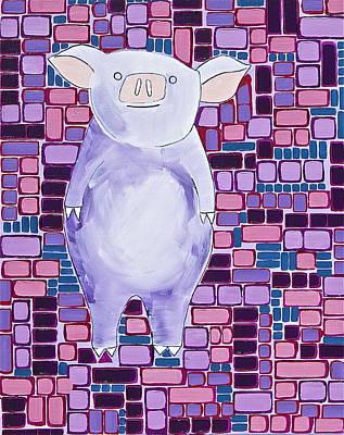 Lavender Piglet Art Print
